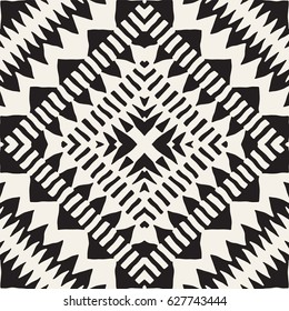 Black and white tribal vector seamless pattern with doodle elements. Aztec abstract geometric art print. Ethnic ornamental hand drawn backdrop.