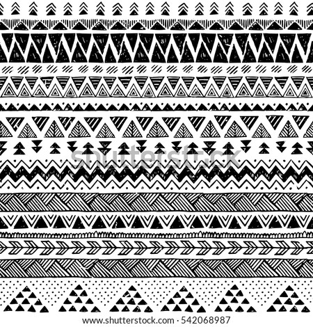 Black And White Tribal Vector Seamless Pattern With Doodle Elements Aztec Fancy Abstract Geometric Art