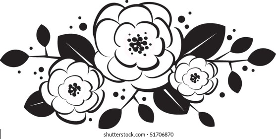 black and white trio of flowers