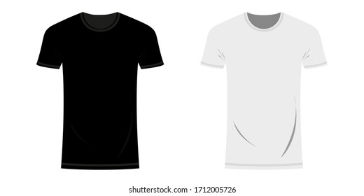 Black and white t-shirt layout. Template for design on white background. Flat style. Vector illustration Vector illustration