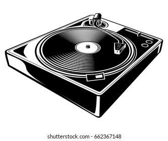 Black and white turntable icon