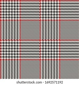 Black & White Twill Weave Glen Plaid with Red Frames Seamless Vector Illustration