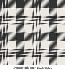 Black & White Twill Weave Plaid with Buffalo/Windowpane Details II Seamless Vector Illustration