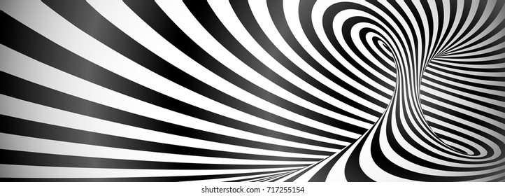 Black and white twisted lines horizontal background, optical illusion