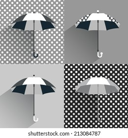 Black and white umbrellas. Flat vector sign.