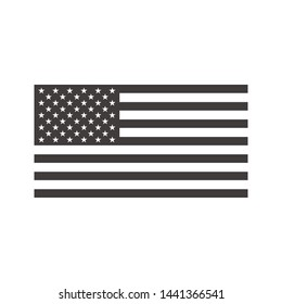 Black and White USA Flag Vector Isolated On White Background. American Flag Symbol Modern Simple Vector Icon For Website Or Mobile App
