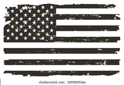 Black and white USA flag.Vector American flag.