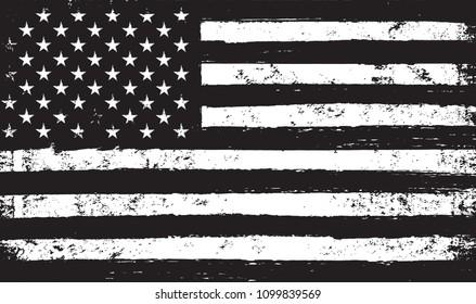 Black and white USA flag.Vector American flag.