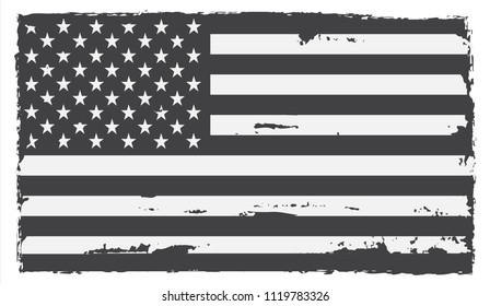 Black and white USA flag.Vector grunge American flag.