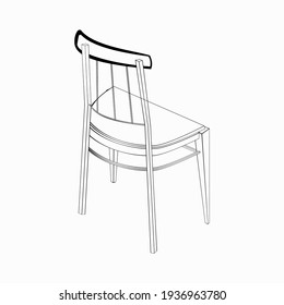 A black and white vector 3d illustration of a turned classic chair isolated on white background. Design elements for projects and interior plans, prints.