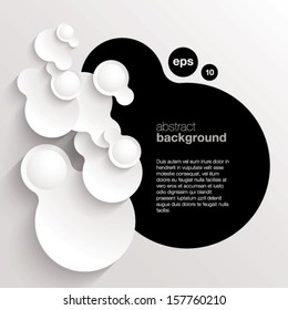 black and white vector abstract background composed of overlapping circles