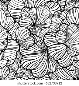 Black and white vector abstract floral seamless pattern