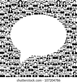 Black and white vector background consists of many icons of modern humans..concept communications