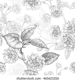 Black and white vector background with flower Chinese plum. Floral pattern with leaves, flowers and branches. Design paper, wallpaper and fabrics. National Chinese plant.