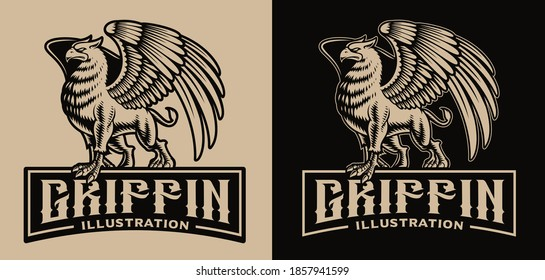 A black and white vector badge with a griffin, this design template can be used as a shirt print as well as for many other uses.