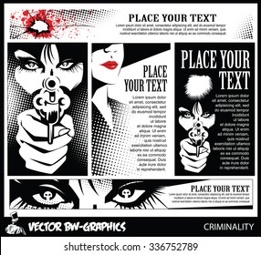 Black and white Vector banner. Girl with a gun. In the eyes of the skull.