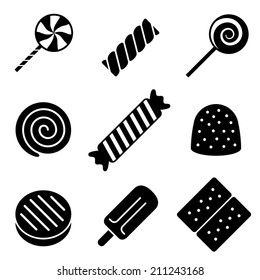 Black and White Vector Candy Icons
