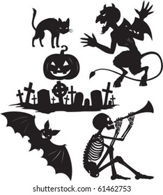 Black and white vector cartoon shapes on Halloween theme