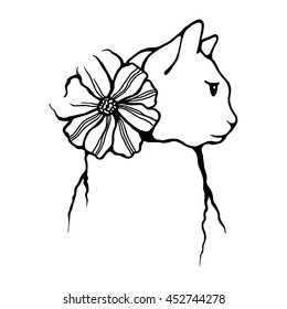 Black and white vector cat. Simple line art. Sketch style. Cat illustration