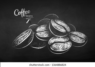 Black and white vector chalk drawn sketch of pile of coffee beans on chalkboard background.
