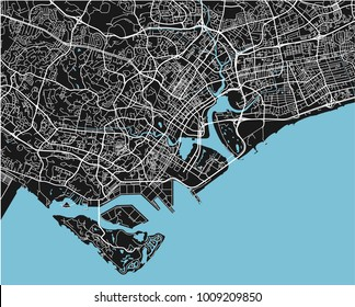 Black and white vector city map of Singapore with well organized separated layers.