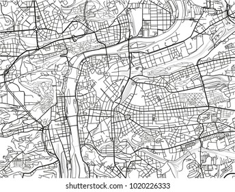 Black and white vector city map of Prague with well organized separated layers.
