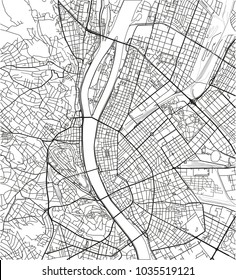 Black and white vector city map of Budapest with well organized separated layers.