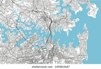 Black and white vector city map of Sydney with well organized separated layers.