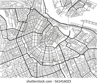 Black and white vector city map of Amsterdam with well organized separated layers.
