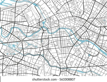Black and white vector city map of Berlin with well organized separated layers.
