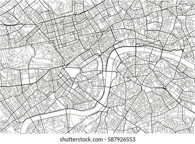 black and white vector city map of london with well organized separated layers