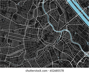 Black and white vector city map of Vienna with well organized separated layers.
