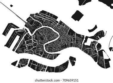 Black and white vector city map of Venice with well organized separated layers.