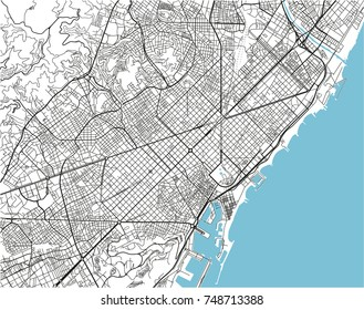 Black and white vector city map of Barcelona with well organized separated layers.