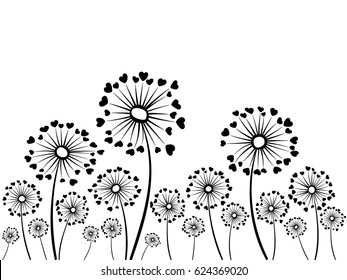 Black and white vector dandelion herbs. Floral background design with taraxacum plant. Blow ball flower with heart shaped feather illustration. Print, ornament, decoration.