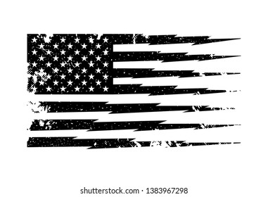Black and White Vector Distressed American Flag with Stripes in Lightning Shape