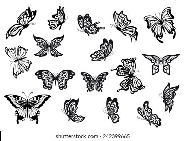 Black and white vector doodle sketch butterflies set with various shaped wings and in different flying positions