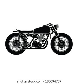 Black and White Vector drawing a motorcycle.