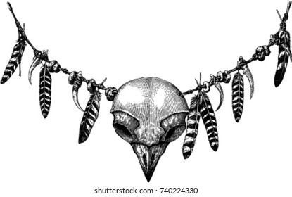 Black And White Vector Drawing With Owl Skull Engraving Style