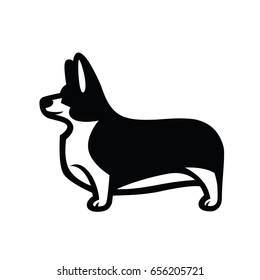 Black and white vector drawing of standing in profile tailless dog Welsh Corgi breed