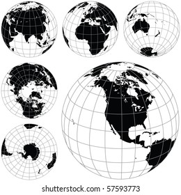 Black and white vector earth globes isolated on white. traced from my original photography (Dated 8 May 2010, 5.34pm) as a base.
