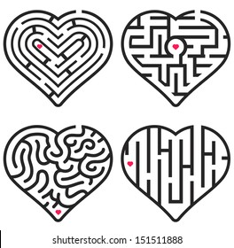 Black and White Vector Elements for Maze Game. Set of Four Maze Hearts