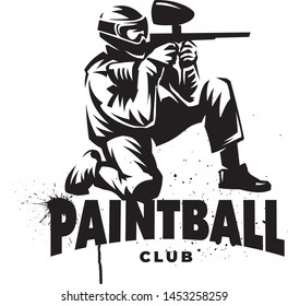 Black and white vector emblem. Paintball player with gun. Sitting posture