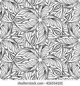 Black and white vector ethnic elements seamless pattern.