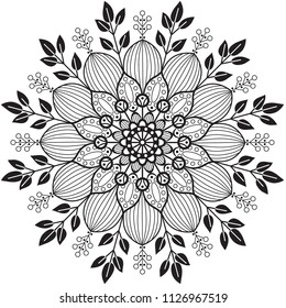 Black and white vector floral mandala with intricate details