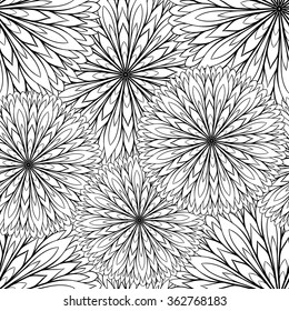 Black and white vector flower seamless pattern