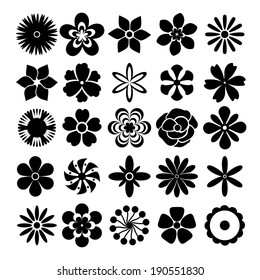 Black and white vector flowers set with twenty-five different designs of spring and summer flowers