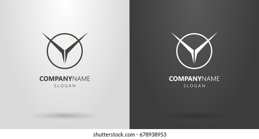 Black and white vector geometric abstract flying bird logo in a round frame