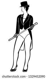Black & white vector graphic of caucasian female circus ringmaster front-on and Standing, wearing black tail coat, tophat, white leotard, holding a cane in high heels.