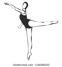 Black and white vector graphic of female ballerina in arabesque.